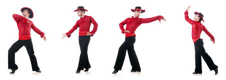 人跳舞的西班牙人在白色跳舞 免版税库存照片