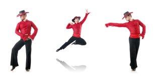 人跳舞的西班牙人在白色跳舞 免版税库存图片