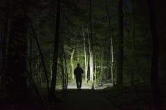 人身分室外在发光与手电的黑暗的晚上 库存图片
