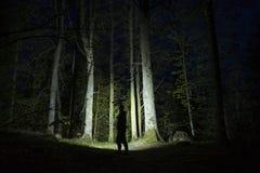 人身分室外在发光与手电的黑暗的晚上 免版税库存照片