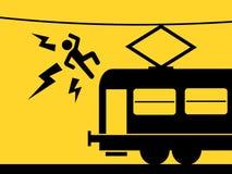人通过接触在火车上的架空线杀害 库存例证