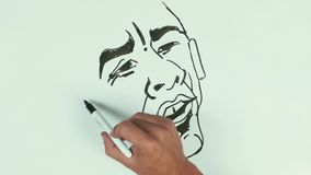 人速度凹道贝拉克・奥巴马面对与黑标志的讽刺画在whiteboard 影视素材