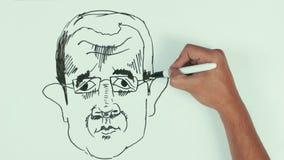 人速度凹道巴沙尔・阿萨德面对与黑标志的讽刺画在whiteboard 股票录像