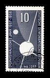 人造卫星斯布尼克我,一部分的地球,月亮,国家地球物理学年serie,大约1957年 免版税库存照片