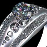 人造白金与金刚石宝石的定婚戒指 图库摄影