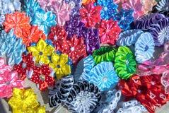 人造花由织品纹理背景制成 库存图片
