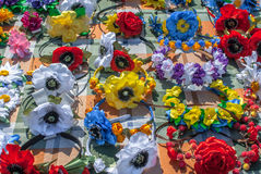 人造花由织品纹理背景制成 免版税库存图片