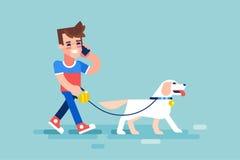 人遛他的狗和谈话在电话 向量 图库摄影