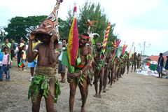 人部族瓦努阿图村庄 库存照片