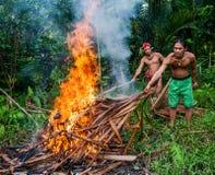 人部落在火准备的Mentawai杀害了狂放的猪狩猎 免版税库存照片