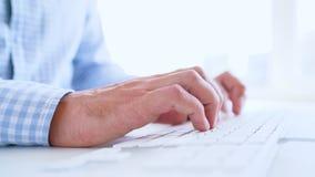 人键入在键盘的办公室工作者 股票录像