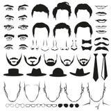 人面孔零件 眼睛、鼻子、髭、玻璃、帽子、嘴唇、发型、领带和胡子 动画片重点极性集向量 免版税图库摄影