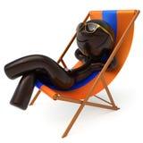 人面带笑容放松海滩轻便折叠躺椅太阳镜暑假 向量例证