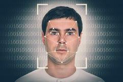 人面貌识别-生物统计的证明概念 库存照片