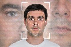 人面貌识别-生物统计的证明 免版税库存图片