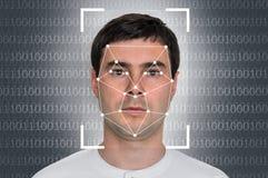 人面貌识别-生物统计的证明 库存照片