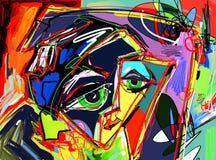 人面,五颜六色的混合涂料原始的抽象数字式绘画  库存例证