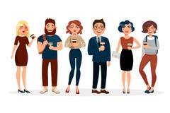 人饮用的咖啡传染媒介平的例证 青年人漫画人物有花费时间的咖啡的 向量例证