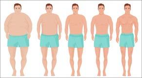 人饮食概念 减肥阶段进展的人 在饮食前后的男性 免版税库存图片