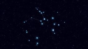 人马座星座、逐渐迅速移动的转动的图象与星和概述 库存例证