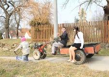 年轻人驾驶multicar 免版税库存照片