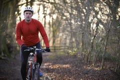 人骑马登山车通过森林地 图库摄影