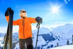 人高级滑雪 免版税图库摄影