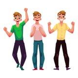 人,男孩,人,高兴的朋友,欢呼,在兴奋的紧握拳头 皇族释放例证