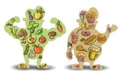 人,稀薄,肥胖 营养,饮食,在白色背景的食物 向量 皇族释放例证