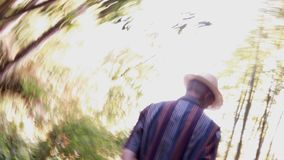 人,走在森林里 图库摄影