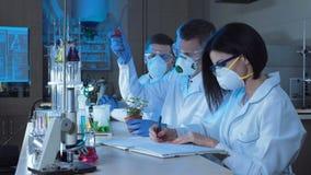 人滴下的化学制品在植物中 影视素材