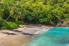人们享用Anse少校海滩,塞舌尔群岛 库存照片