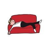 人们供以人员睡觉在沙发 免版税图库摄影