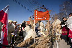 人们准备狂欢节'Busojaras'冬天的葬礼狂欢节  库存图片