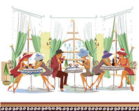 人系列在咖啡馆饮用的咖啡里面的 免版税库存图片