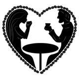 人黑剪影和妇女在心脏塑造 免版税库存照片