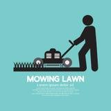 人移动的草坪的图形符号 免版税库存图片