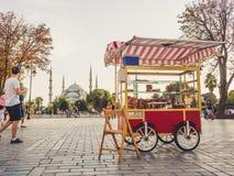 人们和城市生活在伊斯坦布尔在中午 免版税图库摄影