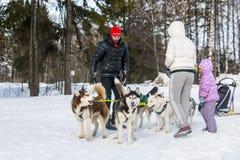 人们和狗在冬天名字的结尾的庆祝时 免版税库存图片