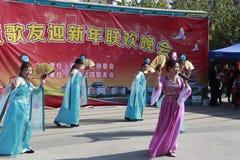 人们唱歌并且跳舞庆祝春节 库存照片