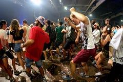 人们在一个电子音乐会跳舞在生波探侧器节日 免版税库存图片
