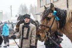人们在冬天的结尾的庆祝时命名了Masleni 免版税库存图片