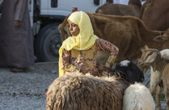 人们在尼兹瓦山羊市场上 库存照片