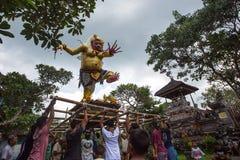 人们在庆祝Nyepi -沈默巴厘语天时  图库摄影
