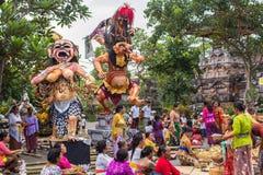 人们在庆祝Nyepi -沈默巴厘语天时  免版税库存照片