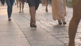 人们在日落的一条城市街道上去 股票录像