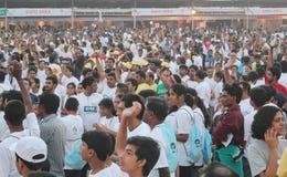 人们在海得拉巴10K跑事件,印度 免版税库存照片