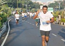 人们在海得拉巴10K跑事件,印度 免版税库存图片