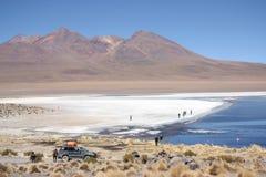 人们在盐水湖在阿塔卡马沙漠在安地斯 库存图片