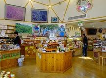 人们在秋田,日本参观一个纪念品店 免版税库存图片